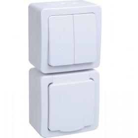 БВб-22-32-ГПБб Блок вертикальный выключатель двухклавишный+розетка IP54 Гермес Plus IEK EBVMP20-K01-32-54-EC Белый
