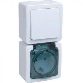 БВб-22-31-ГПБд Блок вертикальный выключатель одноклавишный+розетка IP54 Гермес Plus IEK EBVMP20-K03-31-54-EC Белый