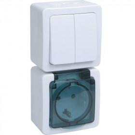 БВб-22-32-ГПБд Блок вертикальный выключатель двухклавишный+розетка IP54 Гермес Plus IEK EBVMP20-K03-32-54-EC Белый