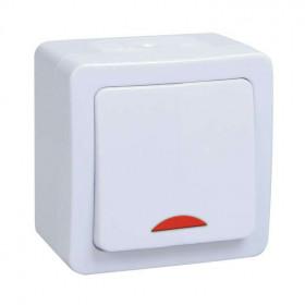 ВС20-1-1-ГПБ Выключатель одноклавишный с подсветкой IP54 IEK Гермес Plus Белый EVMP11-K01-10-54-EC