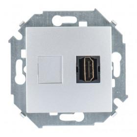 Розетка Simon 15 Алюминий 1591407-033 IP20 HDMI