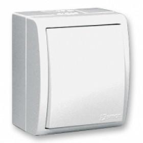 1594104-030 Выключатель одноклавишный с подсветкой Simon 15 Aqua Белый IP54