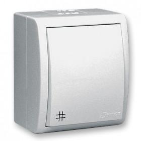 1594254-030 Выключатель одноклавишный с 3-х мест с подсветкой Simon 15 Aqua Белый IP54