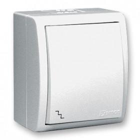 1594204-030 Выключатель одноклавишный с 2-х мест с подсветкой Simon 15 Aqua Белый IP54