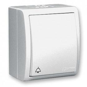 Нажимная кнопка Звонок открытой установки Simon 15 Aqua Белый IP54 1594150-030