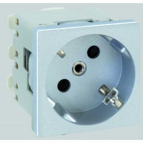 K01-8 Розетка 2к+з винтовой зажим 45х45 мм Simon Connect K45, алюминий