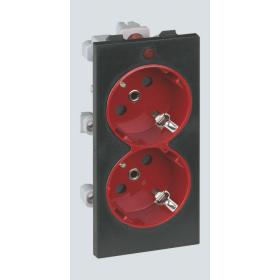 S1-6-14 2 розетки 2к+з, S-модуль графит-красный