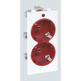 S1-6-9 2 розетки 2к+з, S-модуль белый-красный