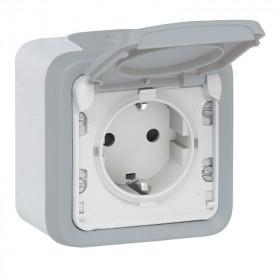 Розетка Legrand Plexo IP55 электрическая с заземление накладная в сборе с рамкой серая 69733