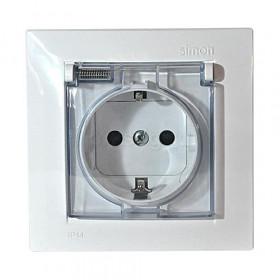 Розетка электрическая с заземлением серия Simon 15 влагозащищенная Белый 1590450-030 IP44