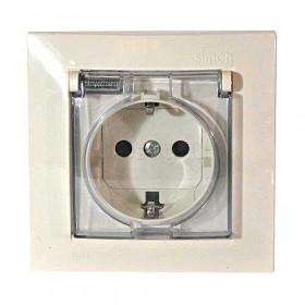 Розетка электрическая с заземлением серия Simon 15 Слоновая кость 1590450-031 IP44
