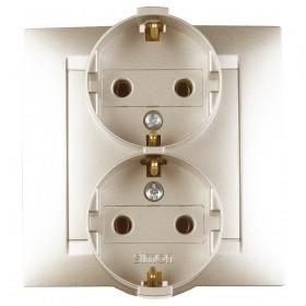 Розетка Simon 15 электрическая двойная без заземления Шампань 1590457-034