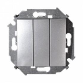 Выключатель Simon 15 Алюминий 1591391-033 IP20 трехклавишный
