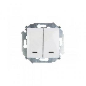 Выключатель Simon 15 Белый 1591392-030 IP20 двухклавишный с подсветкой
