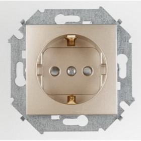 Розетка электрическая с защитными шторками Simon 15 Шампань 1591443-034