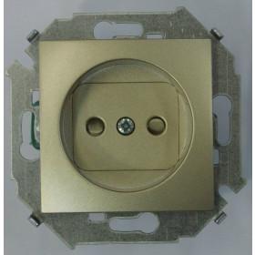 Розетка электрическая без заземления с защитными шторками Simon 15 Шампань 1591444-034
