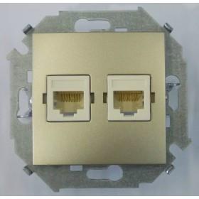 Розетка компьютерная двойная RJ45 кат.5е UTP Simon 15 Шампань 1591593-034