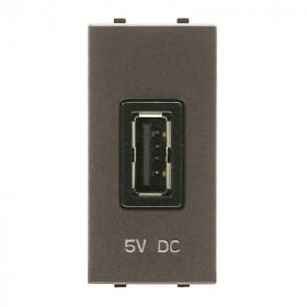 N2185 AN Розетка USB-зарядка 1 модуль ABB Zenit Niessen Антрацит