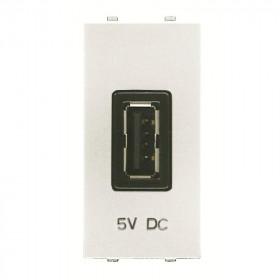 N2185 BL Розетка USB-зарядка 1 модуль ABB Zenit Niessen Белый