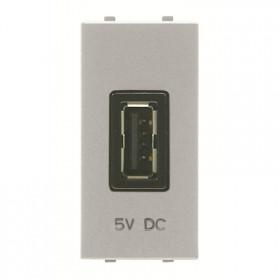 N2185 CV Розетка USB-зарядка 1 модуль ABB Zenit Niessen Серебро
