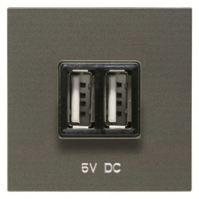 N2285 AN Розетка USB-зарядка двойная 2 модуля ABB Zenit Niessen Антрацит