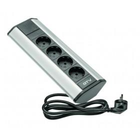 AE-PBKT4S-80 Розеточный блок GTV на 4 розетки 2к+з угловой, кабель 2 м, Чёрный