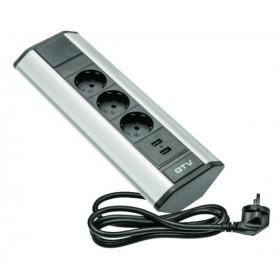 AE-PBKT3S2U-80 Розеточный блок GTV на 3 розетки 2к+з и 2 USB угловой, кабель 2 м, Чёрный