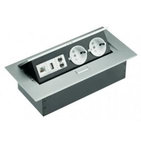 AE-PB02GS-53 Выдвижной розеточный блок GTV: 2 розетки+USB разъём+RG45+aудио in/out jack, Серебристый