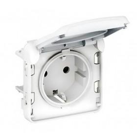 Розетка Legrand Plexo IP55 электрическая с заземлением клеммы белая 69640