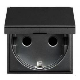 N2288.1 AN Розетка электрическая с крышкой и шторками ABB Zenit Niessen Антрацит