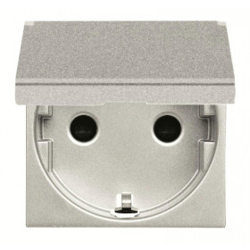 N2288.1 PL Розетка электрическая с крышкой и шторками ABB Zenit Niessen Серебро