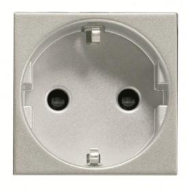 N2288 PL Розетка электрическая со шторками ABB Zenit Niessen Серебро