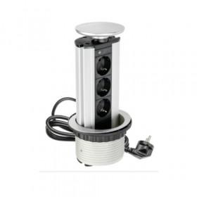 AE-BPW3GS-80 Выдвижной розеточный блок GTV на 3 розетки 2к+з, Серебристый, кабель 1,8 м, диам.80мм