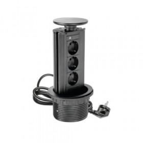 AE-BPW3GS-20 Выдвижной розеточный блок GTV на 3 розетки 2к+з, Чёрный, кабель 1,8 м, диам.80мм