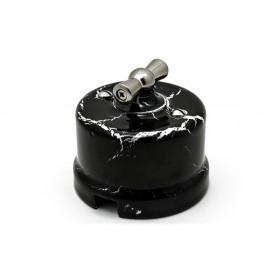 Выключатель Bironi Лизетта Черный мрамор В1-201-01/BM IP20 на 1 цепь с 2-х мест