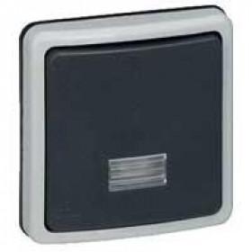 Выключатель IP66 Legrand Plexo одноклавишный с 2-х мест с подсветкой без коробки накладной открытой установки Серый 90480