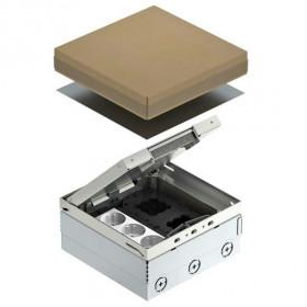 7427200 Лючок на 6 механизмов(UDHOME4 2V V) с 3-мя розетками 2к+з и коробкой GB2, Нержавеющая сталь