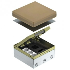 7427204 Лючок на 6 механизмов(UDHOME4 2M V) с 3-мя розетками 2к+з и коробкой GB2 с рамками, Латунь