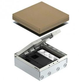 7427300 Лючок на 12 механизмов(UDHOME9 2V GB V) с 3 розетками 2к+з и 2 коробками GB3, Нержав. сталь