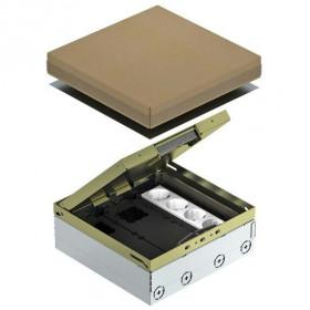 7427304 Лючок на 12 механизмов(UDHOME9 2M GB V) с 3 розетками 2к+з и 2 коробками GB3, Латунь