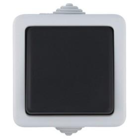80001 Выключатель IP54 одноклавишый наружный влагозащищенный Экопласт Aqua серый EF600S
