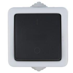 80004 Выключатель IP54 одноклавишный наружный влагозащищенный 2-полюсный Экопласт Aqua серый 10А EF600SW