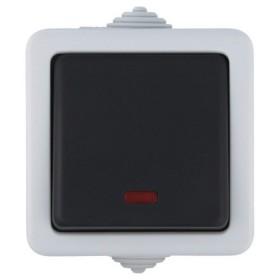 80005 Выключатель IP54 одноклавишный наружный влагозащищенный с 2-х мест проходной с подсветкой Экопласт Aqua серый 10А EF602S