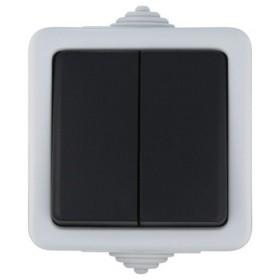 80006 Выключатель IP54 двухклавишный наружный влагозащищенный с 2-х мест проходной Экопласт Aqua серый 10А EF602SA