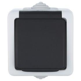 Розетка одноместная открытой установки IP54 взагозащищенная Экопласт Aqua серая 80007 (EF600G)