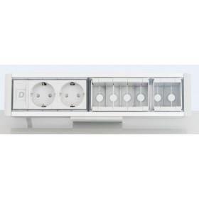 DESK 1M 2P 6DT Розеточный блок на 2 розетки 2р+3 и 6 модулей для информ.розетки, Алюминий-Серый