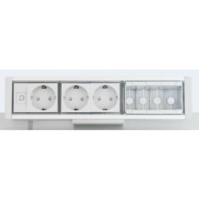 DESK 1M 3P 4DT Розеточный блок на 3 розетки 2р+3 и 4 модуля для информ.розетки, Алюминий-Серый