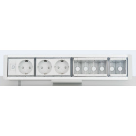 DESK 1M 3P 6DT Розеточный блок на 3 розетки 2р+3 и 6 модулей для информ.розетки, Алюминий-Серый