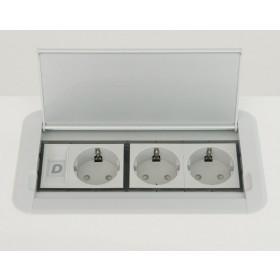 KOMPAKT S EN 1M 3P Розеточный блок на 3 розетки 2р+3, Алюминий-Серый