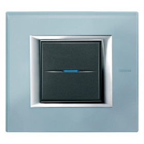 Рамка 1-ая Bticino Axolute Голубое стекло HA4802VZS IP20